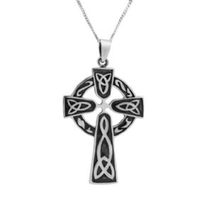 Celtic Cross Silver Plated Pendant Large 9167